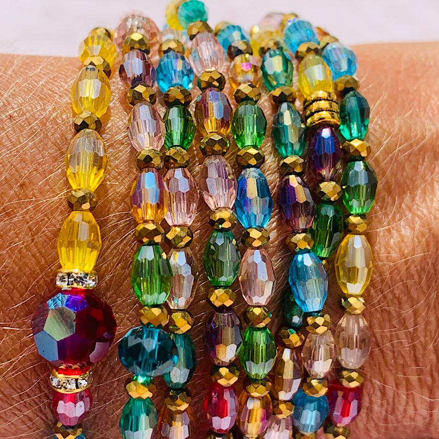 sautoir perles de riz transparentes multicolores