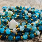 Sautoir en agate naturelle bleu