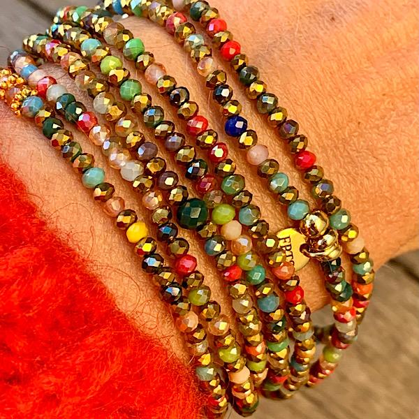 Sautoir Van en perles à facettes multicolores