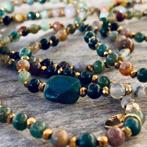 Sautoir Amy en perles d'agate indienne