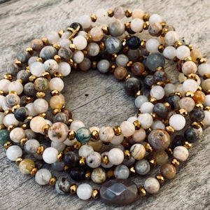 Sautoir Ann en perles d'agate