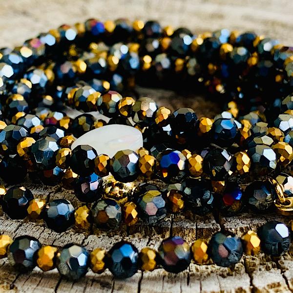 sautoir cody en perles à facette darkblue