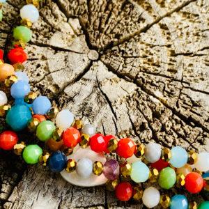 Sautoir candie en perles à facettes multicolore