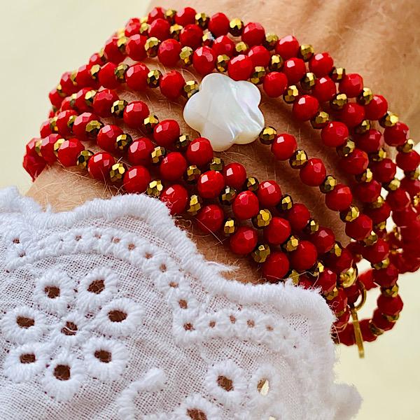 Sautoir Flavy en perles à facettes rouges