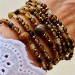 Sautoir Ara en perles d'agate naturelle marron