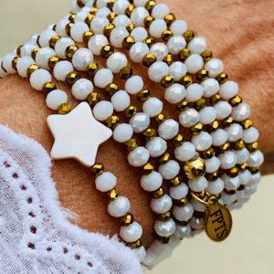 Sautoir Erny en perles à facettes blanche et étoile en nacre