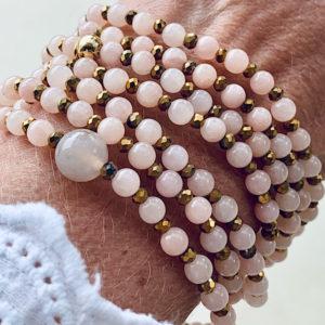 Sautoir Alys en perles d'agate naturelle