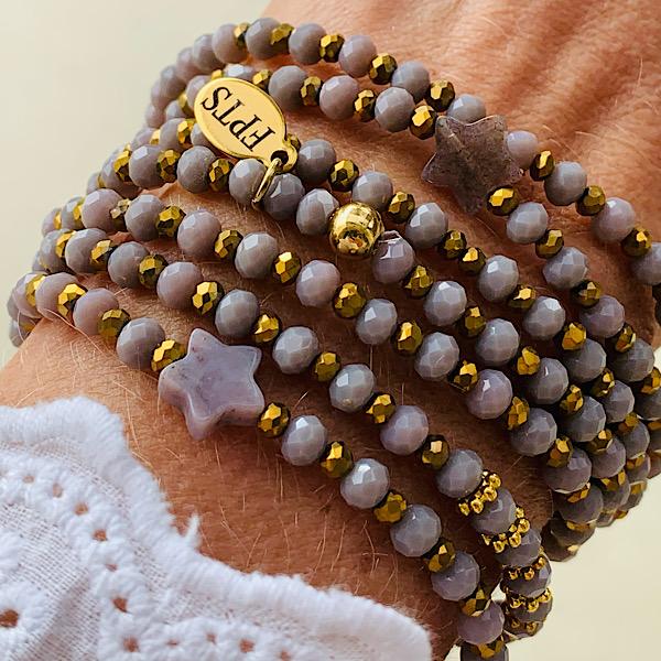 Sautoir Evy en perles à facettes mauve