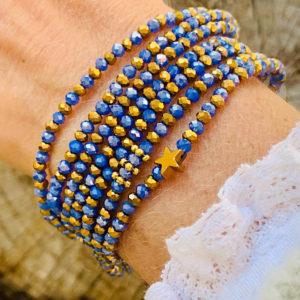 Sautoir Enzo en perles à facettes bleu et étoile dorée