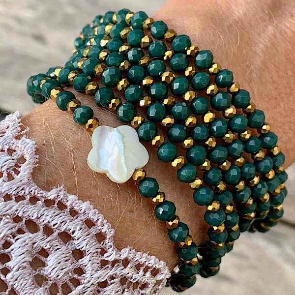 Sautoir Fodil en perles à facettes vert foncé