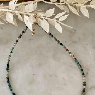 collier en perles naturelles agate verte